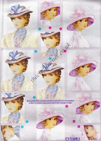 Elegant Ladies In Hats Pyramex Dufex 3d Decoupage Pyramid Sheet